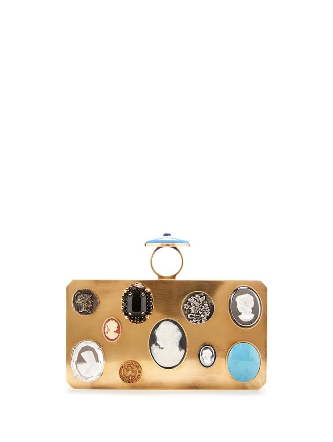 Cameo and Coin Metal Clutch  Gold Multi