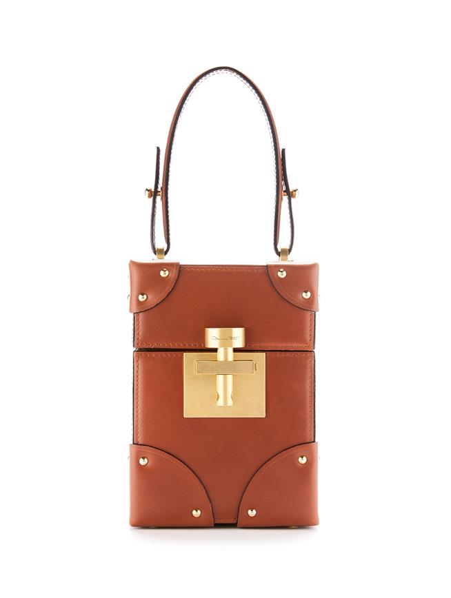 Studded Cognac Leather Alibi Bag  Cognac