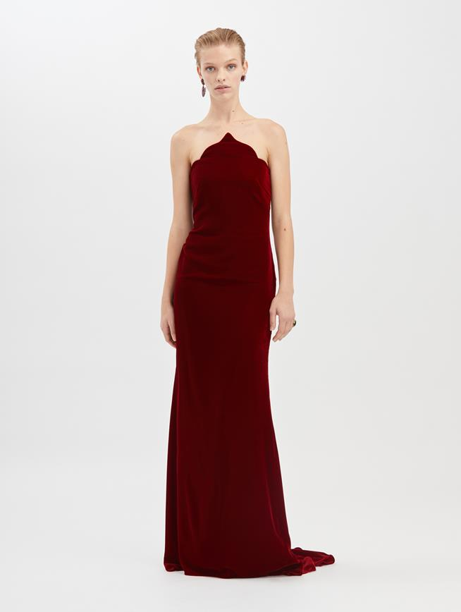 Arabesque Velvet Gown  Claret