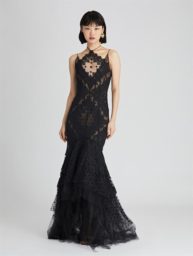 Rose Lace and Flocked Tulle Gown  Black
