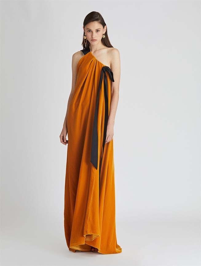 One Shoulder Velvet Gown Amber