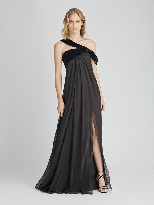 Asymmetric Velvet and Silk-Chiffon Gown  Charcoal