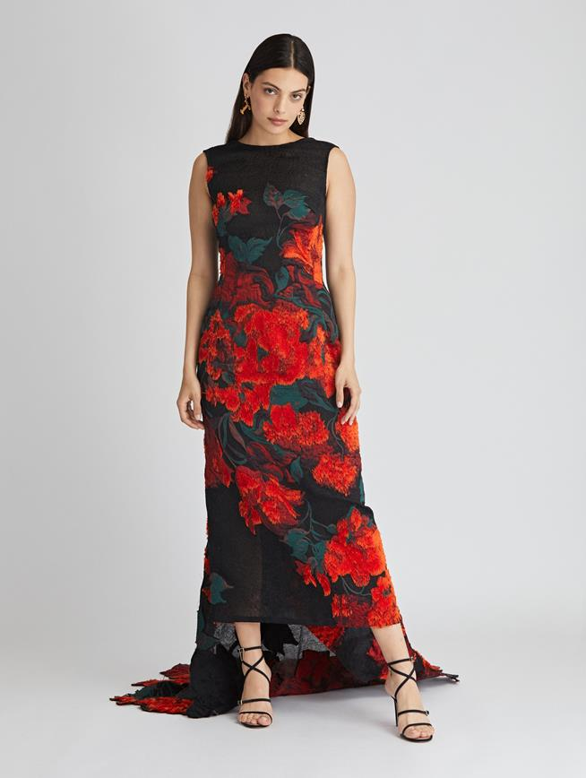 Tufted Rose Fil Coupé Gown  Black/Cayenne