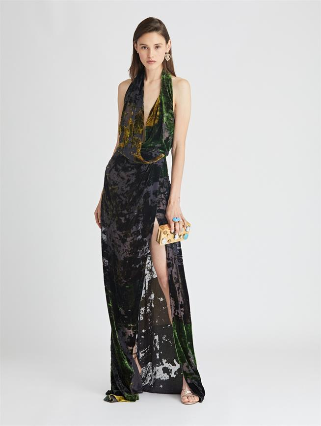 Patchwork Devoré Velvet Gown  Juniper Multi
