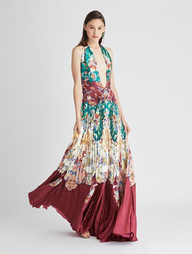 Floral Crest Soleil Plisse Twill Gown  Claret Multi