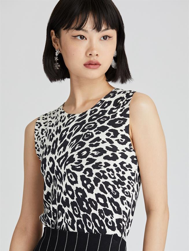 Leopard Knit Tank  Ivory/Black
