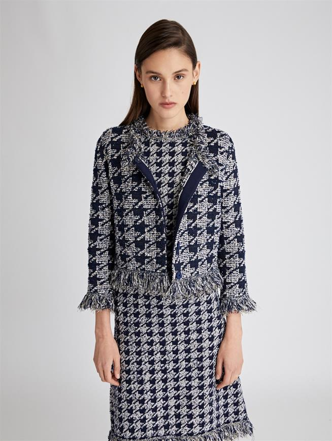 Houndstooth Jacket  Navy/White