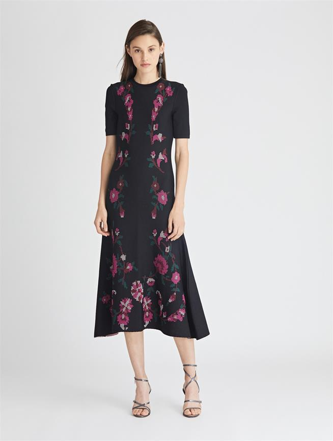 Floral Print Knit Trumpet Dress  Black