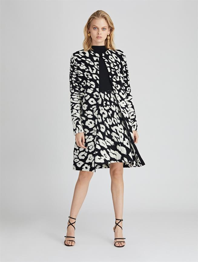 Leopard Wool-Blend Coat  BLACK/WHITE