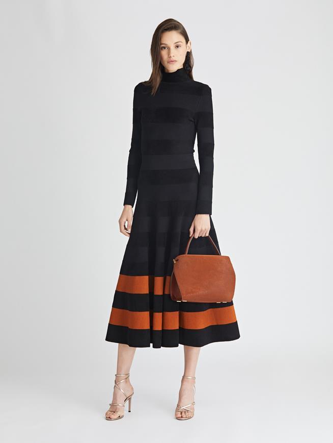 Striped Knit Turtleneck Dress  Black/Cumin