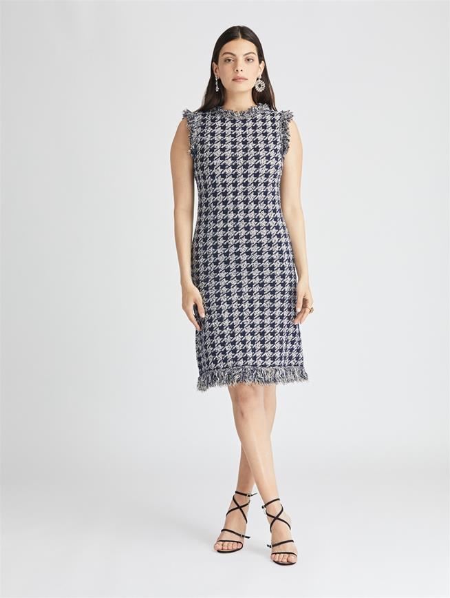 Houndstooth Wool Dress  Navy/White