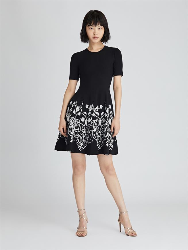 Printed Knit Dress  BLACK/WHITE