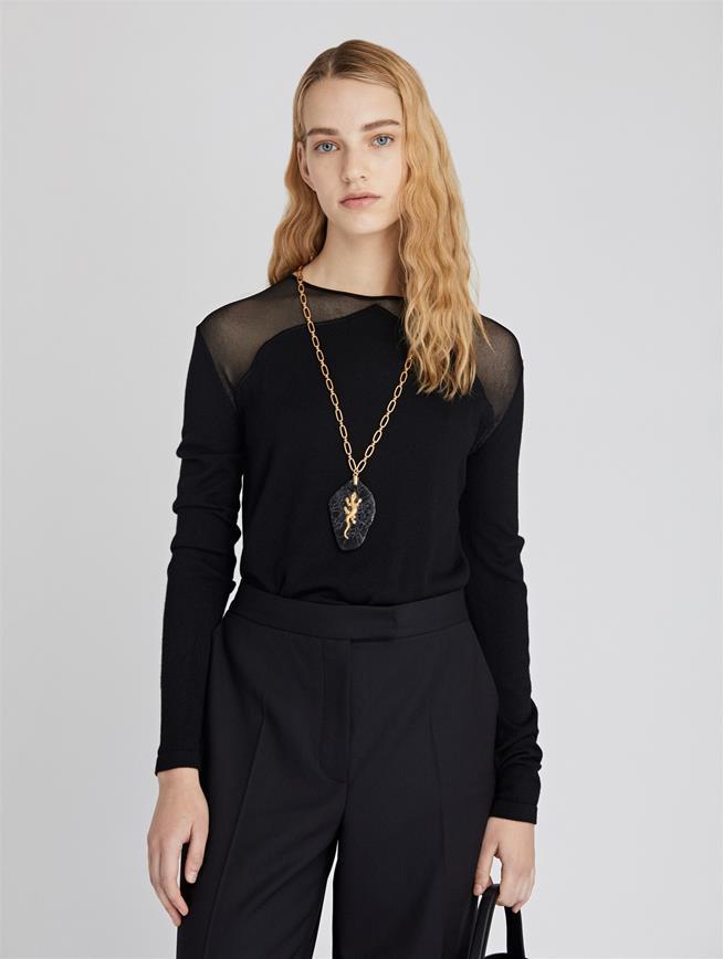 Arabesque Wool Silk Pullover  Black