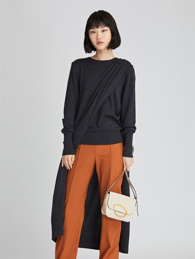 Draped Wool Silk Pullover  Charcoal