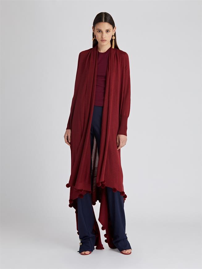 Pompom Wool and Silk Cardigan  Burgundy