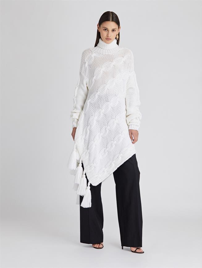 Asymmetric Wool Turtleneck Pullover  Ivory