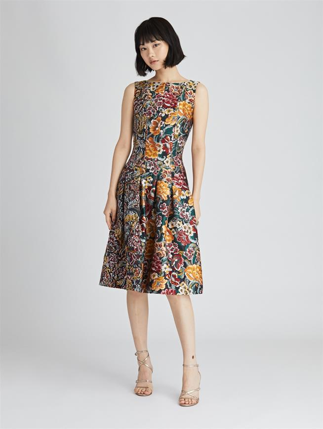 Floral Fil Coupé Dress  Juniper Multi
