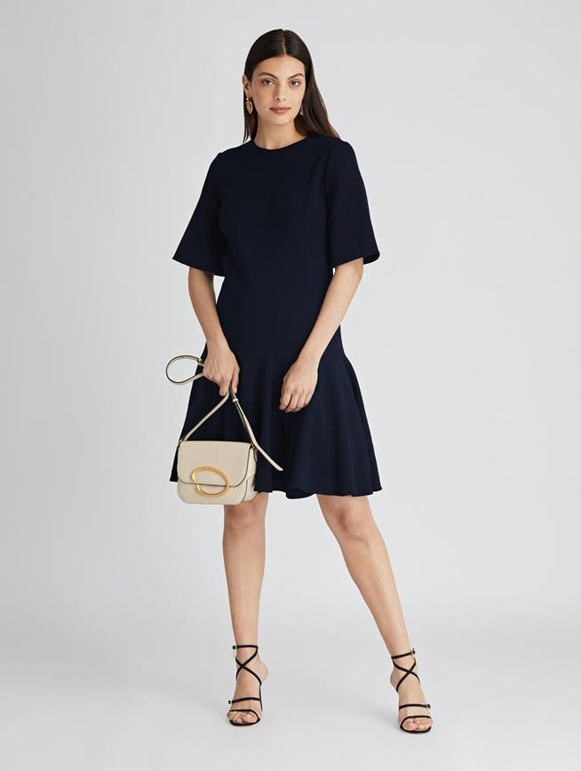 Stretch-Wool Crepe Trumpet Dress  Navy