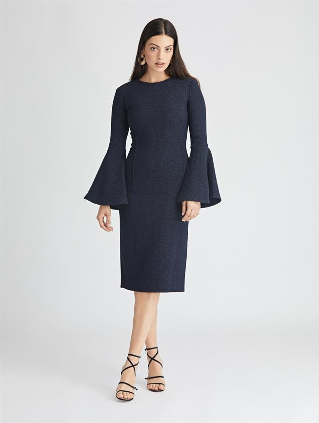 Shimmer Wool Pencil Dress  Dark Navy
