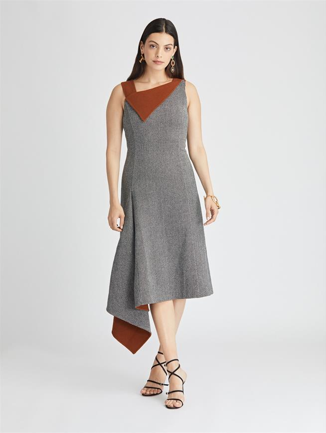 Herringbone Wool-Cashmere Asymmetric Dress  Black/Cumin