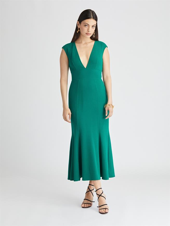 Stretch-Wool Crepe Trumpet Dress  Juniper