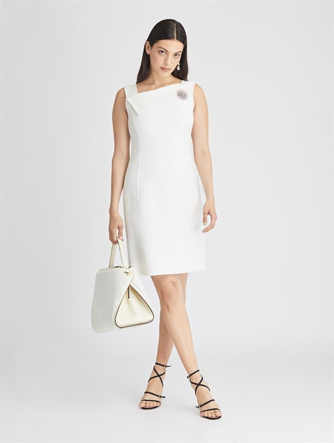 Stretch-Wool Cady Dress  Ivory