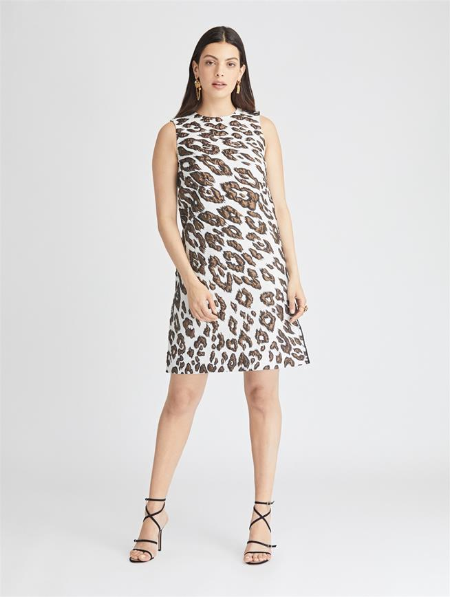 Leopard Wool Jacquard Dress  Ivory
