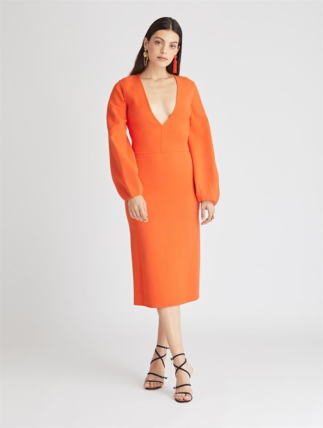 Stretch-Wool Cady Dress  Persimmon