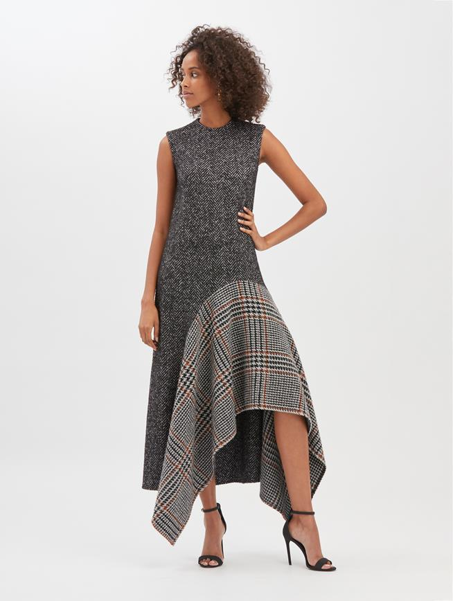 Tweed and Bouclé Asymmetric Dress  Anthracite