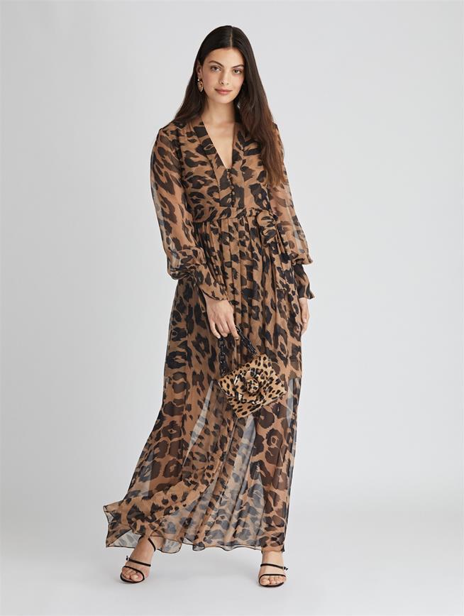 Leopard Chiffon Dress  Camel