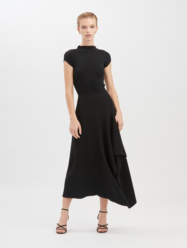 Asymmetric Stretch-Wool Crepe Skirt  Black