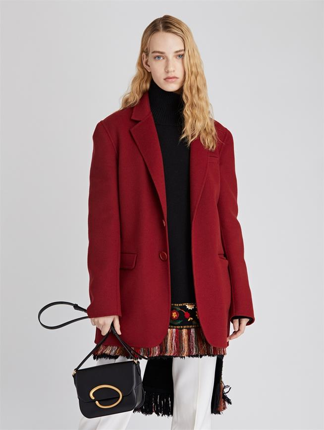 Double Face Wool-Cashmere Jacket  Claret