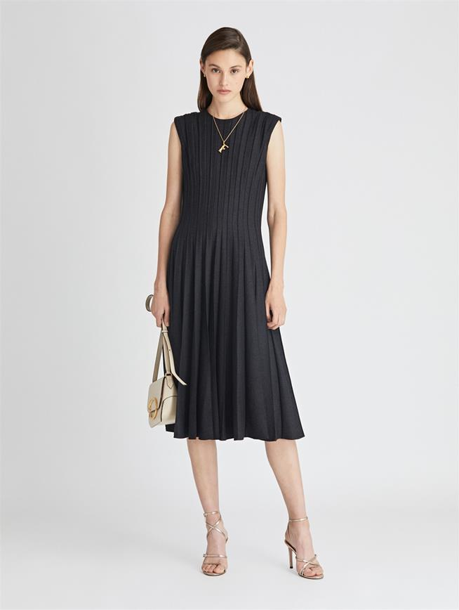 Pleated Stretch-Wool Flannel Cocktail Dress  Charcoal