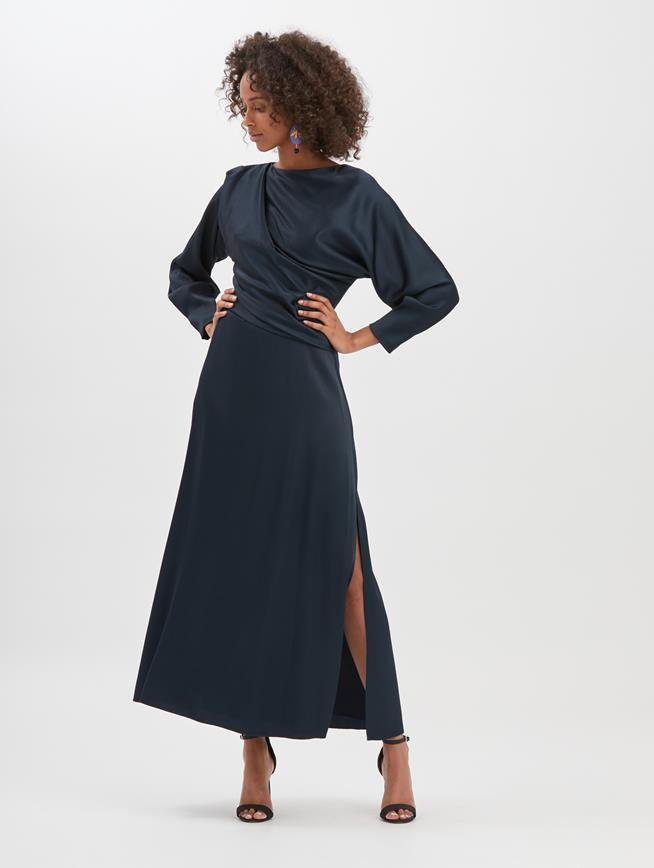 Draped Crepe Envers Satin Cocktail Dress  Navy