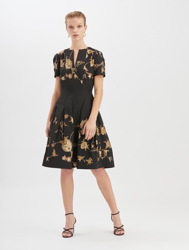 Floral Jacquard Lamé Cocktail Dress  Black/Gold