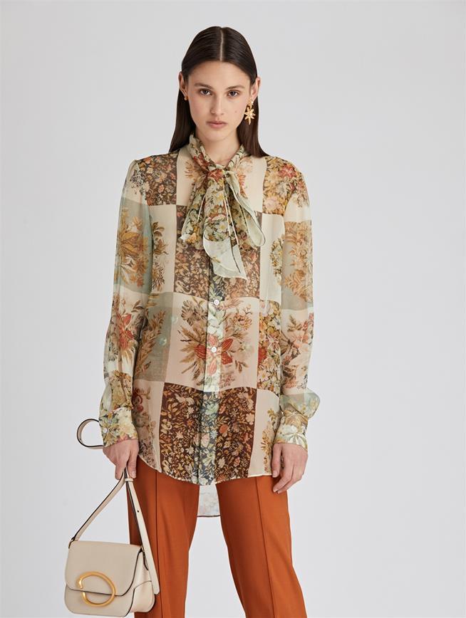 Patchwork Floral Chiffon Blouse  Ecru Multi