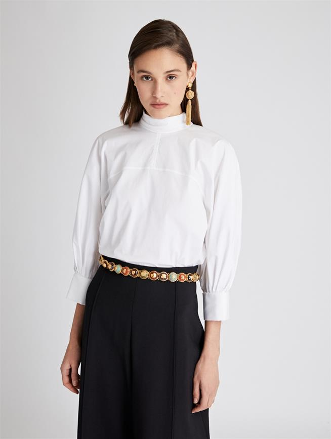 Stretch-Cotton Poplin Blouse  White