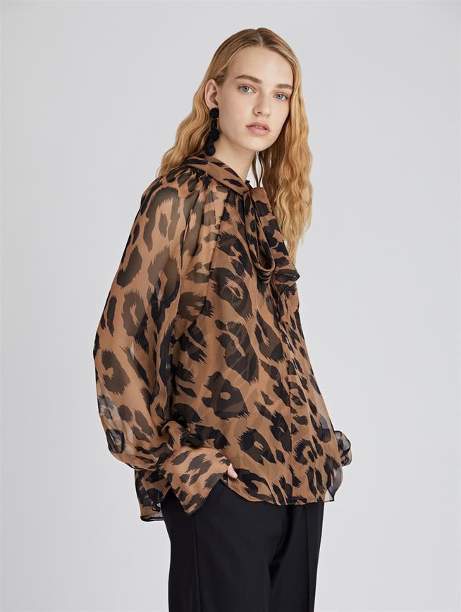 Leopard Chiffon Blouse  Camel