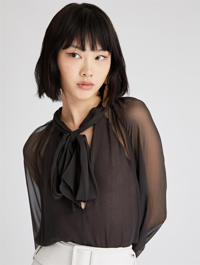 Tie-Neck Chiffon Blouse  Charcoal