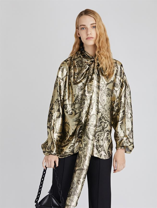 Baroque Lame Blouse  Dark Gold