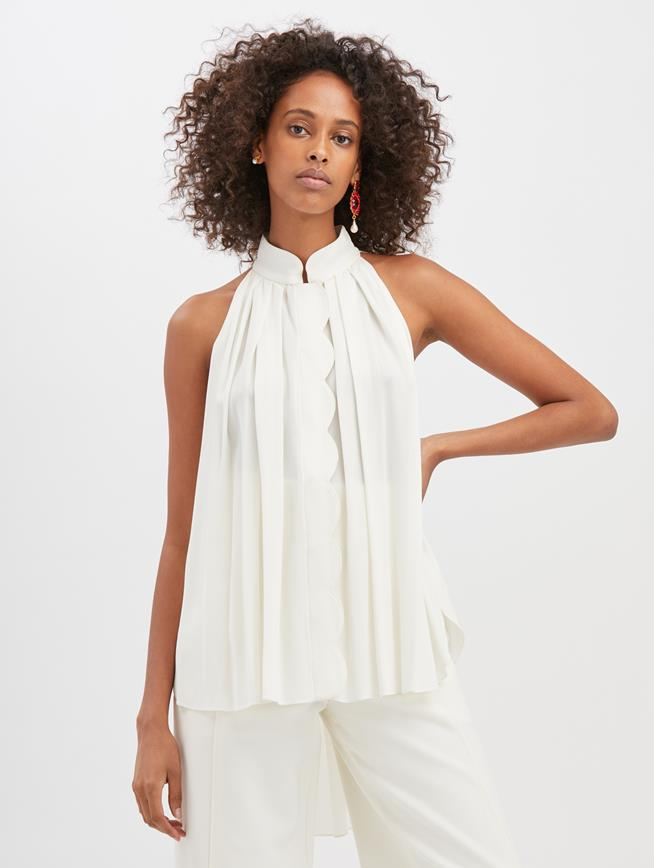 Stretch-Crepe Sable Blouse  Ivory