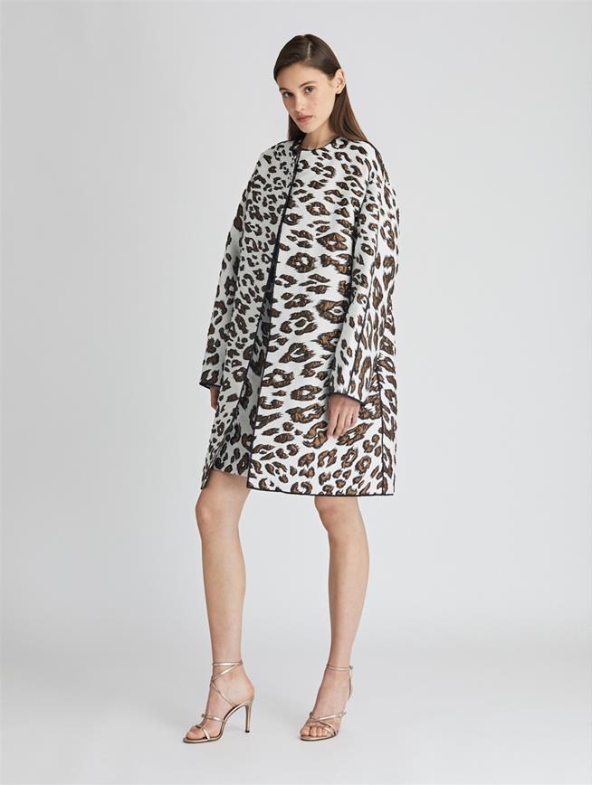 Leopard Wool Jacquard Coat  Ivory