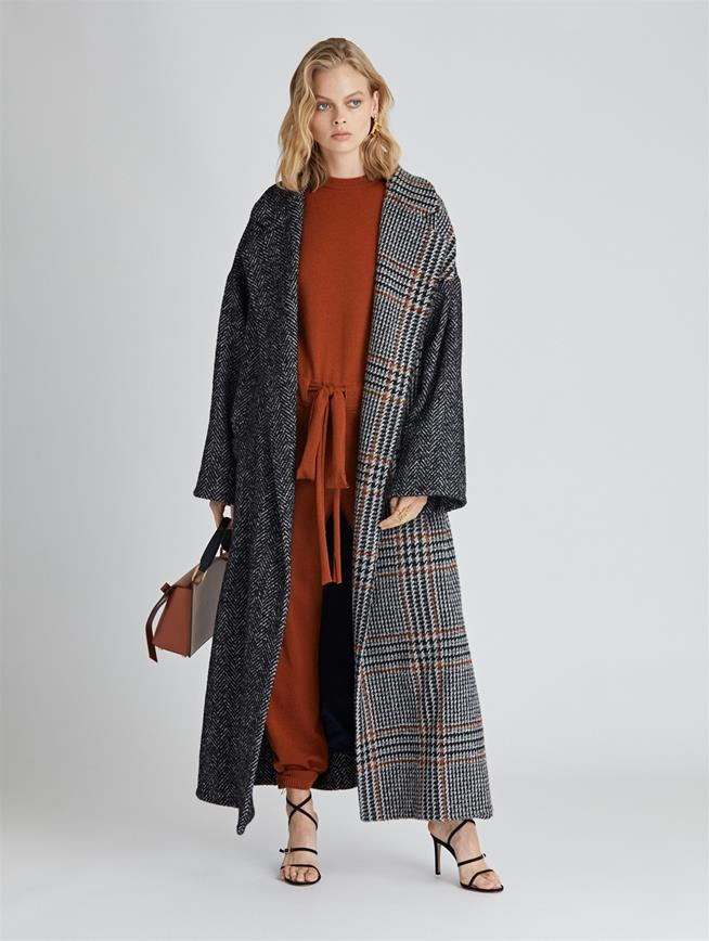 Herringbone Tweed and Houndstooth Bouclé Coat  Anthracite