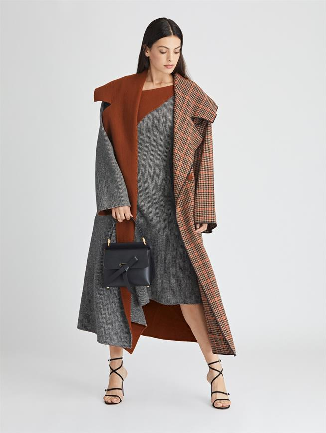Herringbone Cashmere and Glenplaid Wool Coat  Black/Cumin