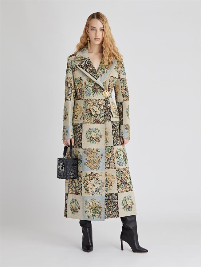 Patchwork Floral Gobblein Coat  Ecru Multi