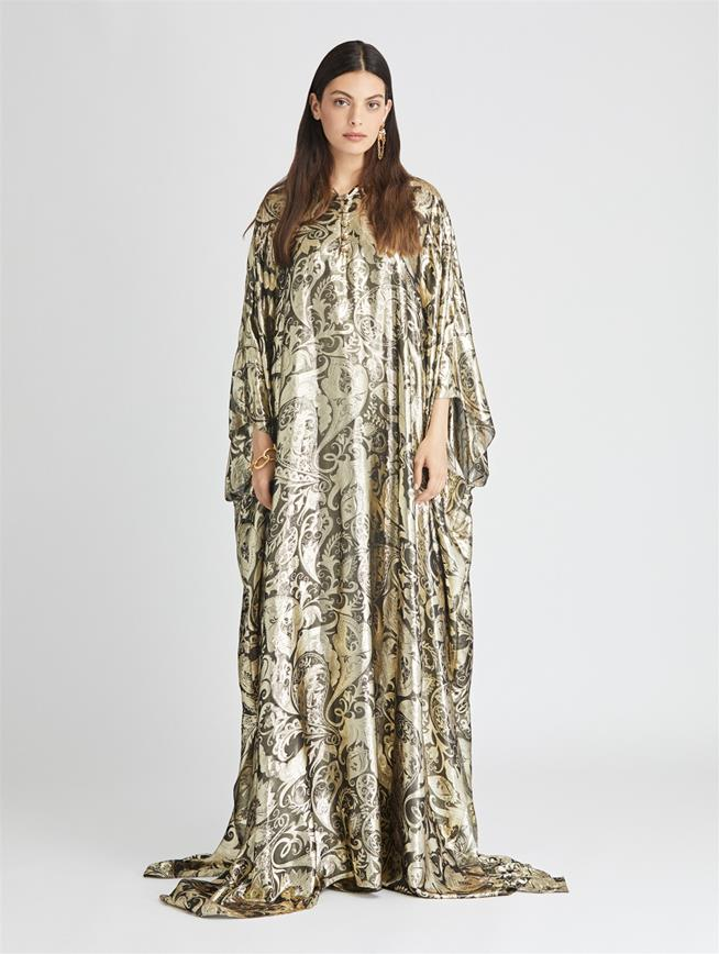 Baroque Lamé Caftan  Dark Gold
