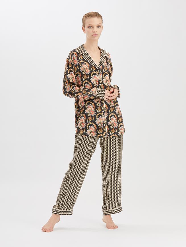 Stripey Dots Satin-Crepe Pajama Pant  Black/Beige