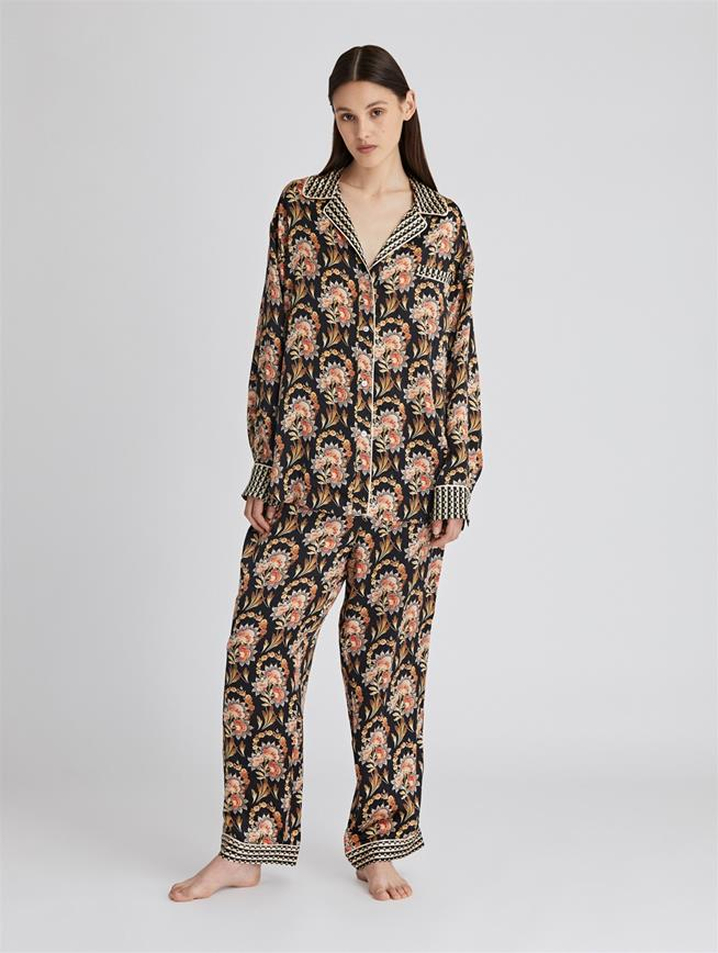 Tapestry Floral Satin Crepe Pajama Pant  Black Multi