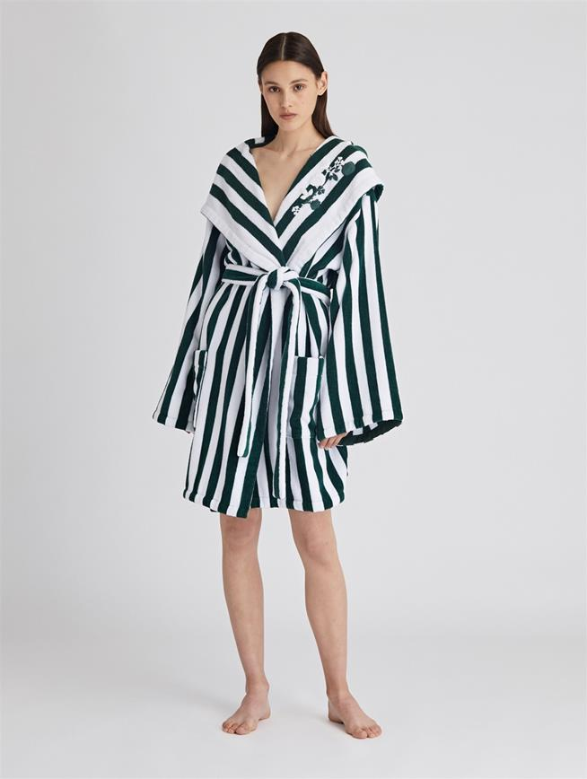 Striped Cotton Terry Hooded Robe  Basil/White