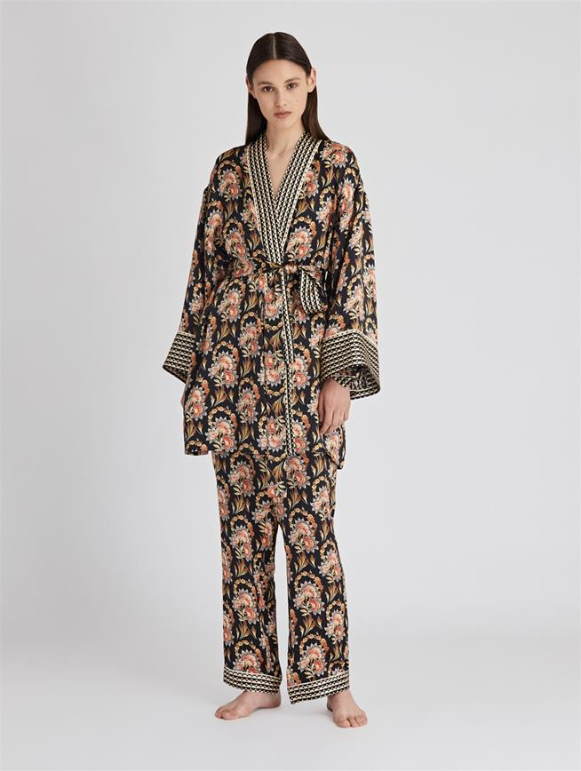 Tapestry Floral Satin-Crepe Robe  Black Multi